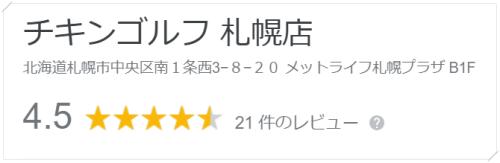 チキンゴルフ札幌店の口コミや評判